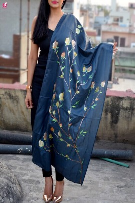 Grey Silk Hand-painted  Multi Color Floral Stole