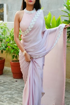 Pastel Mauve Pink Pearl Work Silk Georgette Saree