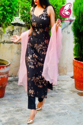 Black & Golden Brocade Silk Padded Kurti with Black Cotton Silk Pants and Pink Pure Organza Three-Tier Ruffle Stole