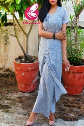 Blue & White Printed Stripes Cotton Kurti Set