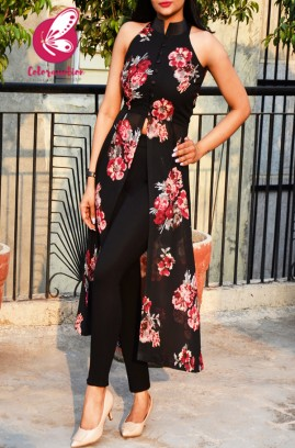 Black Printed Georgette Floral Sleeveless Long Kurti