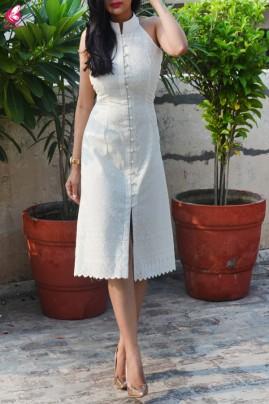 Cream Cotton Chikankari Sleeveless Dress