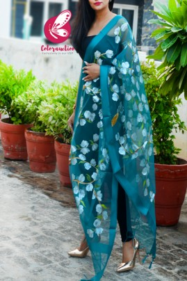 Teal Green Organza Hand painted Floral Stole