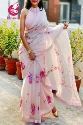 Baby Pink Hand-painted Silk Chiffon Saree