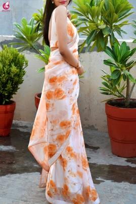 White Orange Digital Print Satin Georgette Dupion Silk Taping Saree