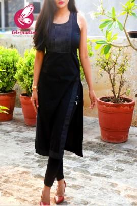 Black Sleeveless Cotton Silk Kurti