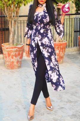 Blue Crepe Printed Floral Quarter Sleeves Front Slit Kurti