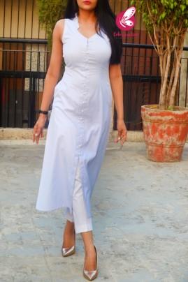 Light Blue Dobby Sleeveless Front Slit Kurti with White Cotton Silk Pants Kurti Set