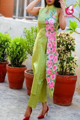 Pista Green Cotton Silk Handpainted Kurti with Pista Green Cotton Silk Pants
