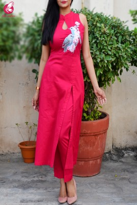 Hot Pink Cotton Silk Kurti Set