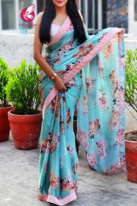 Printed Multicolored Floral Motifs Satin Saree