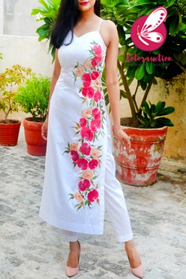 White Cotton Silk Handpainted  Kurti with White Cotton Silk Pants