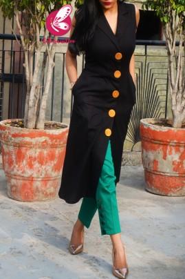 Black Dobby Sleeveless Kurti with Green Cotton Silk Pants Kurti Set