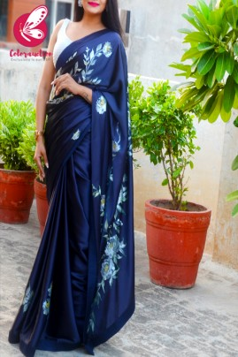 Blue Roses Hand-painted Satin Dupion Taping Saree