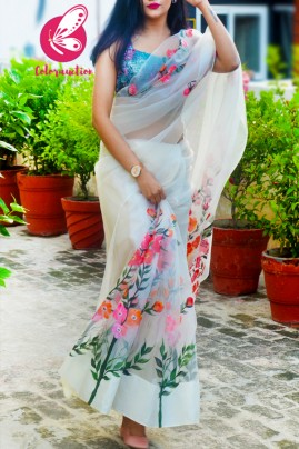 Ivory Pure Organza Floral Handpainted Saree