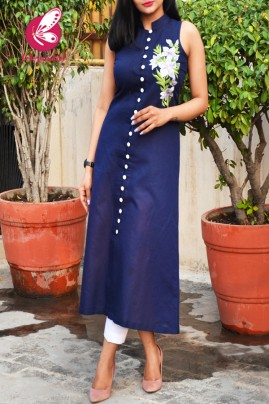 Navy Blue Pure Linen Embroidered Kurti with White Cotton Silk Pants