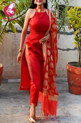 Red Cotton Silk Golden Brocade Padded Kurti with Red Cotton Silk Pants and Red Golden Chanderi Dupatta