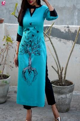 Blue Cotton Hand-Painted Straight Kurti