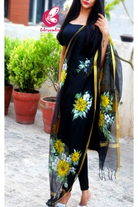 Black Pure Organza Sunflower Hand painted Stole