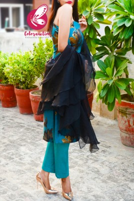 Teal Blue & Golden Brocade Silk Padded Kurti with Cyan Cotton Silk Pants and Black Pure Organza Three-Tier Ruffle Stole