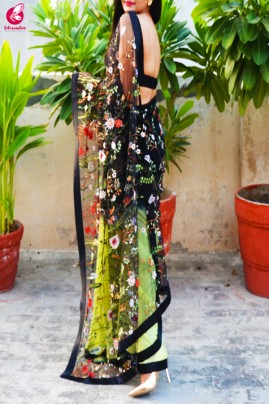 Lime Green & Black Double Shaded Georgette Net  Black Satin Taping Saree