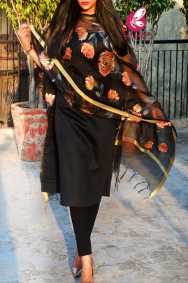 Black Pure Organza Floral Multicoloured Hand painted Stole