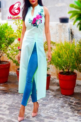 Mint Green Pure Linen Embroidered Front Slit Kurti