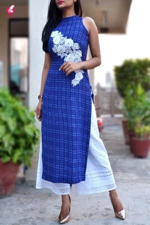Blue Modal Rayon Patched Straight Kurti