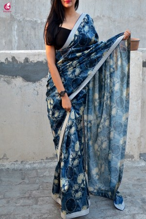 Blue & Grey Printed Silk Border Saree