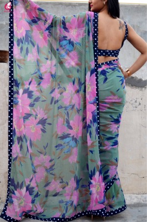 Printed Multicolour Chiffon Saree