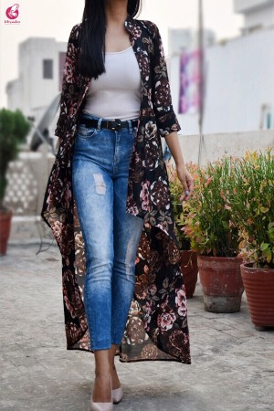 Black Multicolor Georgette Floral Long Shrug