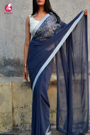 Blue-Grey Georgette Handpainted Saree