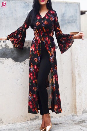 Black Printed Georgette Long Kurti