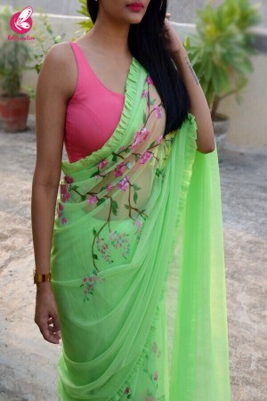 Neon Green Net Handpainted Saree