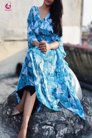 Blue Kaftan Style Georgette Kurti