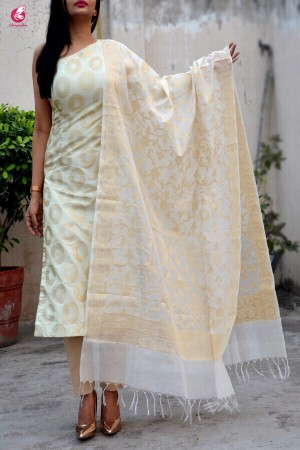 Off White Pure Chanderi Zari Woven Dupatta
