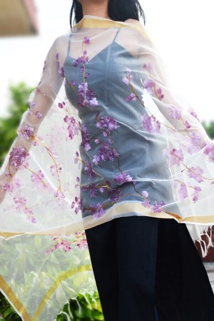 Off White Organza Floral Hand Painted Stole