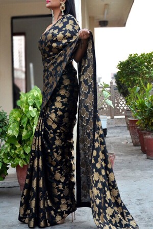 Black Chanderi Zari Woven Saree