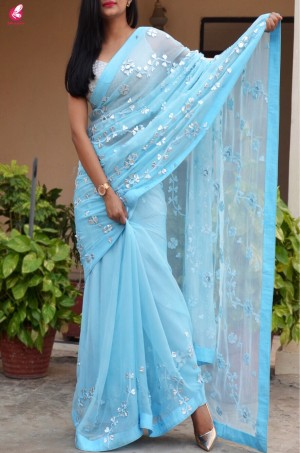 Sky Blue Gotta Work Chiffon Saree