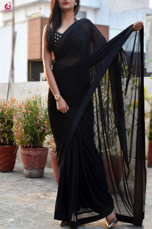 Black Lycra Net Dupion Silk Taping Saree