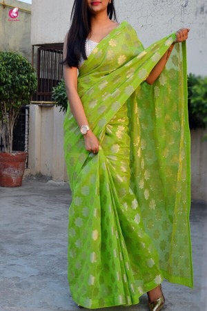 Lime Green Chanderi Zari Woven Saree