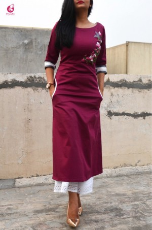 Wine Sarton Lycra Embroidered A-Line Kurti