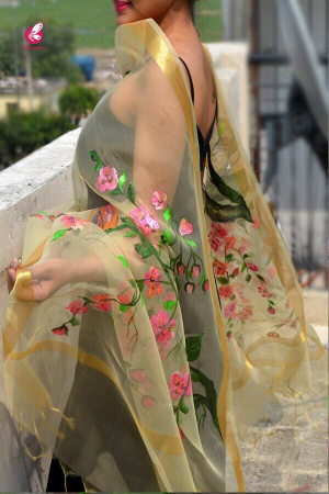 Cream Organza Hand Painted Floral Stole