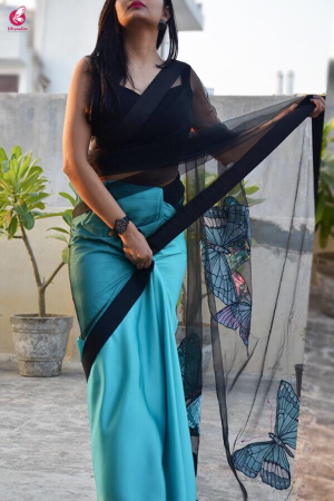 Seagreen Satin Applique Saree