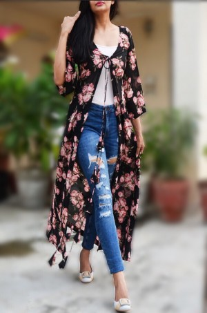 Black Printed Georgette Long Floral Shrug