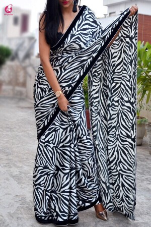 Black & White Printed Satin Saree