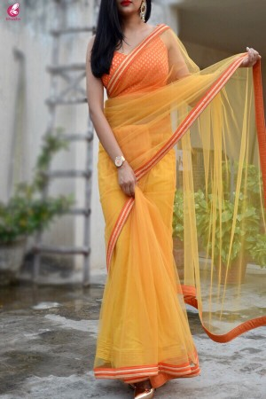 Yellow Orange Net Border Saree