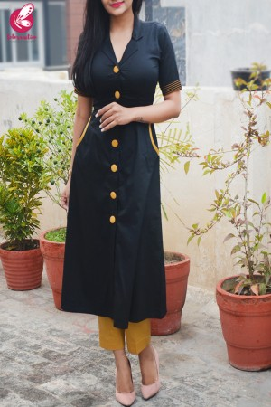 Black & Mustard Cotton Silk Kurti with Mustard Stripes Cotton Silk Pants