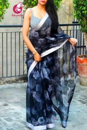 Black Grey Floral Organza Dupion Taping Piping Saree