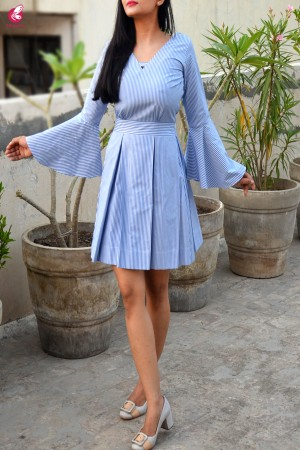 Blue Stripes Box Pleat Quarter Sleeves Dress